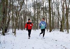 Familienmitglieder, die in den Schnee laufen lizenzfreies stockfoto
