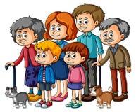 Familienmitglieder mit Eltern und Kindern Stockfotos
