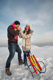 Familienpaare in einem Winter Stockfoto