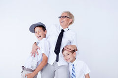 Familienporträt, Mutter mit Söhnen Lizenzfreies Stockfoto