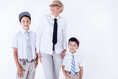 Familienporträt, Mutter mit Söhnen Stockfotografie