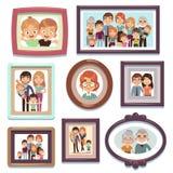 Familienporträtfotos Charakterverwandtdynastienelternkinder-Verhältnis des Bildleutefotorahmens glückliches, flach stock abbildung