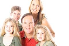 Familienportrait getrennt auf Weiß Stockbilder