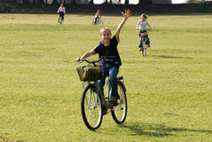 Familienreitfahrräder auf der Wiese Lizenzfreie Stockfotografie