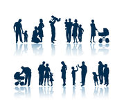 Familienschattenbilder Lizenzfreies Stockfoto