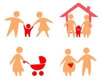 Familienset Ikonen Lizenzfreie Stockfotos