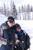 Familienskifahren Lizenzfreies Stockfoto
