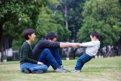 Familienspiel auf der Wiese lizenzfreie stockbilder