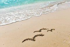 Familiensymbol - drei Seemöwen, die auf den Sand auf dem goldenen sonnigen sandigen Strand im Erholungsort auf Sommerferien zeich Stockbild