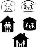 Familiensymbol und -haus Lizenzfreies Stockfoto