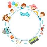 Familienurlaub-Gegenstände auf rundem Rahmen Lizenzfreies Stockfoto