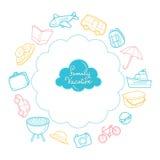 Familienurlaub wendet Entwurfs-Ikonen ein Stockbilder