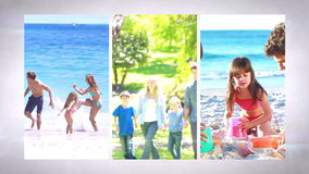 Familienurlaubmontage stock video footage