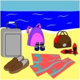 Familienurlaubplakat Flugtickets, Gepäck und Schuhe auf Strand Sommerferien zusammen Stockfoto
