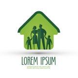 Familienvektorlogo-Designschablone Haus oder Lizenzfreie Stockbilder