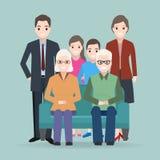 Familiepictogram, Gelukkige het pictogramillustratie van het familiekarakter stock illustratie