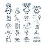 Familiepictogrammen in krabbelstijl die worden geplaatst Hand getrokken ontwerpelementen Dr. Stock Afbeelding