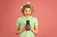 Familieportret, oude manier, journalistiek, pinup royalty-vrije stock foto's