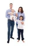 Familieportret - vader, moeder, dochter en zoon op w wordt geïsoleerd dat Royalty-vrije Stock Afbeeldingen