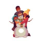 Familieportret van vader, moeder en dochter die een sneeuwman maken Stock Foto