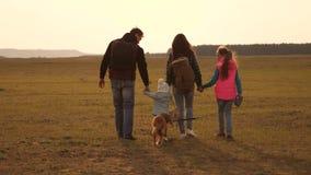 Familiereizen met de hond over de vlaktes en de bergen Papa, mamma, dochters en huisdieren, toeristen groepswerk van het sluiten stock videobeelden