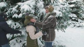 Familierust in de winter bos, mooi landschap met sneeuwsparren stock videobeelden
