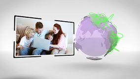 Families all around the world connected with an Earth image courtesy of Nasa.org stock footage