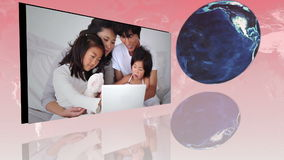Families around the world using internet with an Earth image courtesy of Nasa.org stock footage