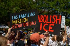 Protestors at the Families Belong Together Rally. WASHINGTON, DC - JUNE 30, 2018: The Families Belong Together Rally held in Lafayette Square in Washington, DC royalty free stock photography