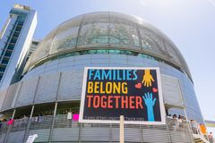 `Families belong together` sign raised in front of the San Jose City Hall Stock Photography