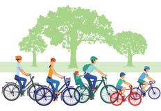 Families on bikes vector illustration
