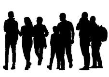 Family people on street one. Families with child walking on white background stock illustration