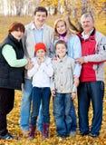 Big family in autumn park Royalty Free Stock Photos