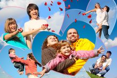 Families with children and young pair. Scatters petals of roses against sky collage in heart shapes stock images