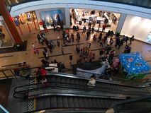 Families come to a party in the mall of Prague stock images