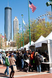 Families Crowd Exhibits And Tents At Atlanta Science Fair Royalty Free Stock Images