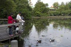 Families die Botanische tuin Taipeh Taiwan bezoeken royalty-vrije stock afbeeldingen