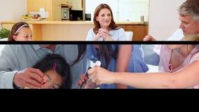Families die samen koken stock footage