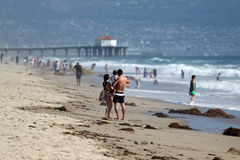 Families at El Porto in Manhattan Beach, CA Royalty Free Stock Photography