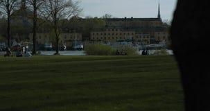Families en vrienden die van zonnige avond in het Park genieten Langzame die motie in 4K met veerboot wordt geschoten die door op stock footage