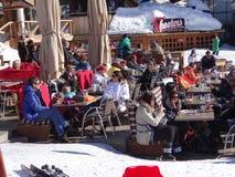 Families enjoy eating outdoors Stock Photo