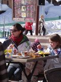 Families enjoy eating outdoors Stock Images
