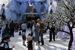 Families enjoy the snow on the Winter Festival Royalty Free Stock Photography