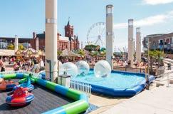 Families Enjoying the Cardiff Bay Beach Festival 2017 royalty free stock photos