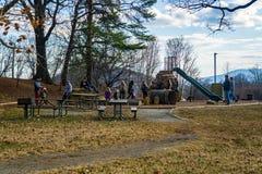 Families Enjoying a Warm Winter Day. Roanoke VA – February 2nd, 2019: Families enjoy a warm winter day at Mill Mountain Park located on Mill Mountain royalty free stock photography