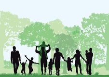 Families in forest stock image