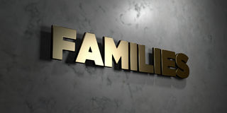Families - Gold sign mounted on glossy marble wall  - 3D rendered royalty free stock illustration Royalty Free Stock Photo