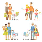 Families Grocery Shopping Together Stock Image