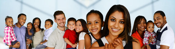 Families. Group of different families together of all races royalty free stock photos