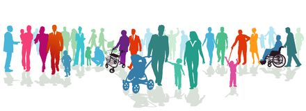 Families illustrated in colorful silhouette. Colorful illustrated silhouettes of families of all ages and sizes stock illustration